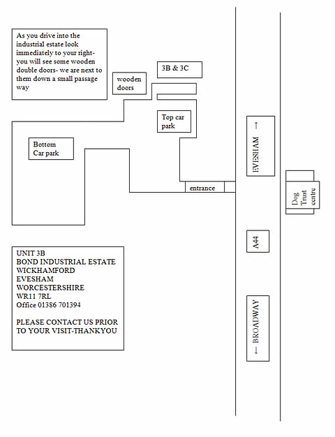 map of directions to Period Stone Fireplace workshop